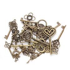 Lot 25//80//200x Antique Silver stripe key Charms Pendants Findings 20mm #19