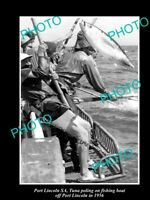 OLD 8x6 HISTORICAL FISHING PHOTO OF TUNA POLING FROM BOAT PORT LINCOLN SA 1956