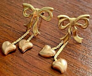 14k Two Tone Yellow Rose Gold JCM Earrings Ribbon Bow Dangly Puffy Hearts