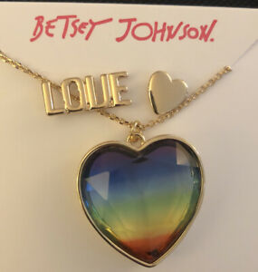 Betsey Johnson Gold Tone Rainbow Crystal Pendant Necklace + LOVE And Heart Studs