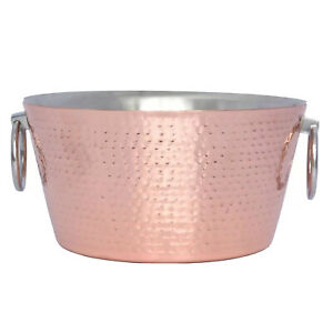 12 Quart Stainless Steel Copper Double Walled Hammered Ice Bucket Tub Cans Wine