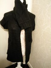 Benetton black chunky knit wool mix cardigan with high neck 8 10 12 lagenlook