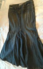 Womens Bisou Bisou Long Denim Jean Skirt 12 Mermaid No Slit Modest Long