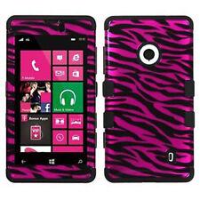 For Nokia Lumia 521 IMPACT TUFF HYBRID Case Skin Phone Cover 2D Hot Pink Zebra