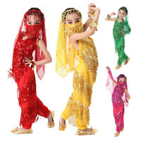Girls Belly Dancing Costumes Kids Indian Bollywood Dance Party Clothes Top Pants