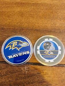 BALTIMORE RAVENS SOUVENIR COLLECTIBLE POKER CHIP & POG (DOUBLE SIDED) IN CASES