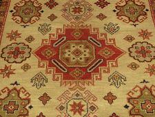 6.7 x 10 Handmade Kazak Rug Veggie Dye Hand Spun Wool_ Beautiful Colors & Design