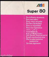 Alitalia Ati Aermediterranea Super 80 - 12/86 safety card vg cond sc540