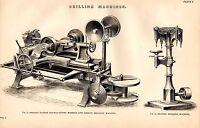 1868 Imprimé~Perçage Machines~Shanks Verni Double Agissant Mortaise Groove