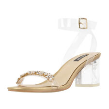 onlymaker Women's Comfy Mid Heel Sandals Clear Ankle Strap Crystal Studded Gold