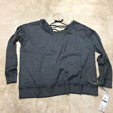 NEW womens calvin klein performance gray scoop tied top sweatshirt activewear 9
