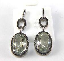 Oval Green Amethyst & Black Diamond Drop Dangle Earrings 10k White Gold 8.36Ct