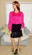 Women's vintage hot pink fuchsia satin secretary blouse shirt top plus sz 20W