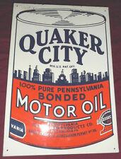 """Vintage Rare Quaker City Pennsylvania Motor Oil Sign 18"""" Quaker City"""