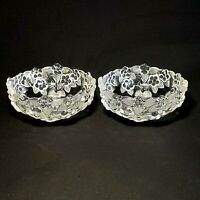 """2 (Two) MIKASA CARMEN Frosted Crystal Fruit, Dessert, or Berry Bowls - 5-1/4"""" W"""