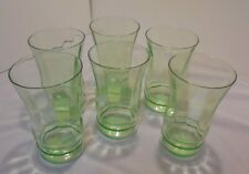 "Tumblers, Set 6 Green Depression Glass, Almost 5"" Tall 3"" Top Vintage"