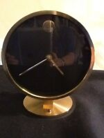 """5.5"""" Black And Gold Tone Desk Clock Battery Operated"""