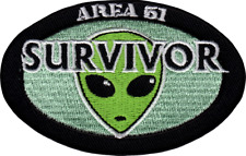 110056 Area 51 Survivor Green Alien Head UFO Space Embroidered Iron On Patch New