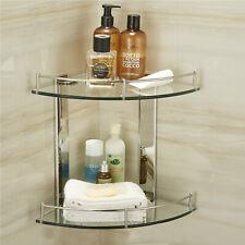 2 Tier Bathroom Corner Shelf Shelve Glass Shower Wall Mounted Storage Caddy Ace