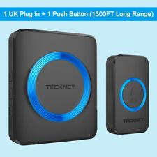 TECKNET Wireless Waterproof Door Bell UK Plug-in Cordless Door Chime Kit 1300ft