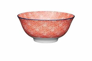 2x Set of 4 KitchenCraft Red Floral and Blue Edge Ceramic Bowls