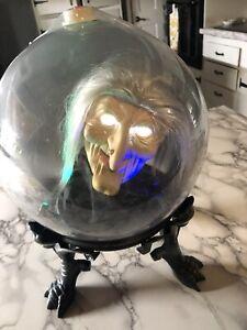 "Gemmy Spirit Ball Animated Talking Witch - 9"" Globe - Sound Activated - Working"