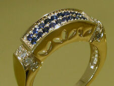 R112 Genuine Solid 9ct Yellow Gold NATURAL Sapphire & DIAMOND Pave Ring size N