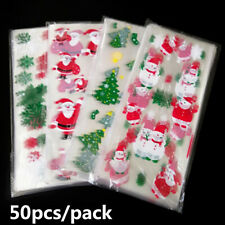 50pcs Christmas Plastic Gift Bags Cookies Candy Packaging New Year Decoration