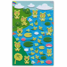 CUTE FROG & TADPOLE FELT STICKERS Sheet Raised Fuzzy Craft Scrapbook Sticker