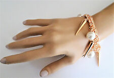 Rose Gold Tone Charm Bracelet Chain with Faux Pearls and Spikes