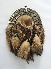 HS Full Dress Kilt Sporran Fox Fur Celtic Cantle Antique/Scottish Kilt Sporrans
