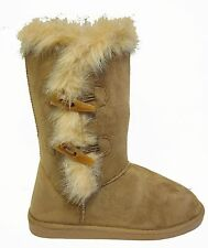 Black Tan Leopard Faux Suede Fur Trim Button Flat Slip On Mid Calf Winter Boots
