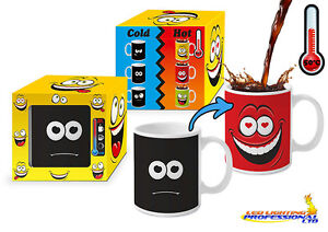HEAT COLOUR CHANGING MAGIC MUG  FUNNY FACE RED  PRESENT HUMOROUS  FACE02