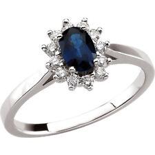 Blue Sapphire & Diamond Halo-Style Ring 1/5 CTW