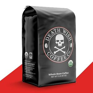 Death Wish Coffee - Worlds Strongest Coffee Fair Trade Organic : 5 lb Whole Bean