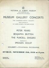 1956 Peter Pears Benjamin Britten piano Imogen Holst Purcell Singers programme
