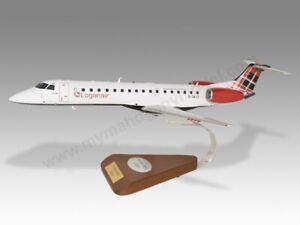 Embraer ERJ-145EP Loganair Solid Mahogany Wood Replica Airplane Desktop Model