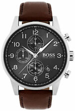 Hugo Boss HB 1513494 Navigator Chronograph Brown Leather Strap Men's Wrist Watch