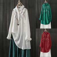 UK Women Lapel High Low Embroidered Shirts Blouse Top Button Front Kaftan Tunic