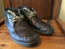 RARE J SHOES TILBURY BROWN LEATHER WOOL TOP MOCCASIN BOOTS UK 7 EU 40.5 JSHOES
