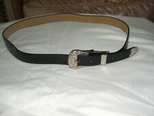"NEW Ladies Western  Cowgirl Leather Belt 1""  Wide, Black SIZE LARGE"