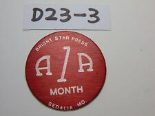 VINTAGE WOOD AA 1 MONTH CHIP RED ALCOHOLICS ANONYMOUS BRIGHT STAR PRESS MISSOURI