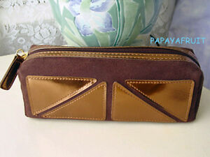 Estee Lauder Faux Suede Long Chocolate Cosmetic Bag for makeup pencil, brush etc
