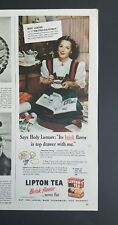 1946 Lipton tea Hedy Lamarr star the strange woman vintage ad