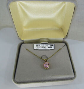 Vintage 1ct Pink CZ Round solitaire 14k Gold filled Necklace