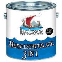Halvar hochwertiger 3 in 1 Metallschutzlack Weiß 1L 2,5L 5L 10L RAL 9010 Weiss
