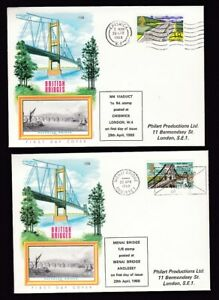 1968 Bridges set 4 matching Philart covers each with relevant First Day cancel