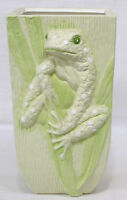 """Vintage Ceramic Vase with Highly Embossed Treefrog Among Reeds on Front   8 3/4"""""""