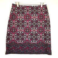 Talbots geometric floral ponte knit pencil skirt pink navy blue size 8
