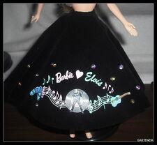 SKIRT  MATTEL DOLL BARBIE LOVES ELVIS BLACK POODLE STYLE SKIRT BOTTOM CLOTHING